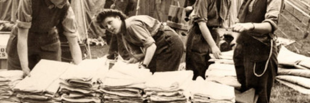 Sorting the linen at a hospital during WW2