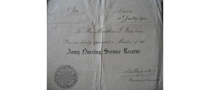 Army Nursing certificate for Martha Baines