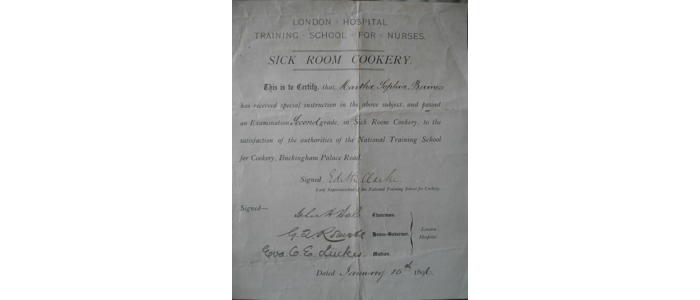 Sick Room Cookery certificate for Martha Baines
