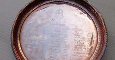 Tray with Margery Loughnan's postings inscribed