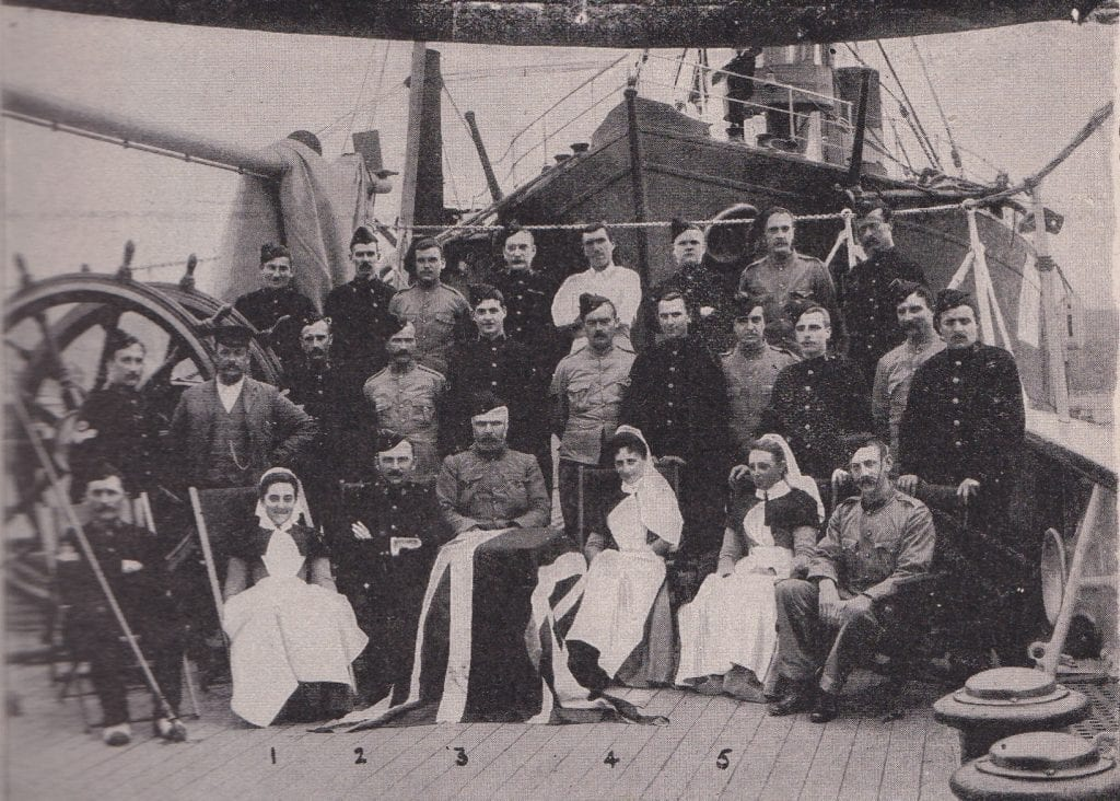 The crew, Medical Officers and Sisters on the Hospital Ship Spartan.