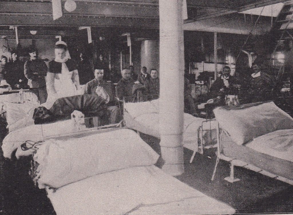 A ward on the Hospital Ship Spartan, Sister Makepeace in charge