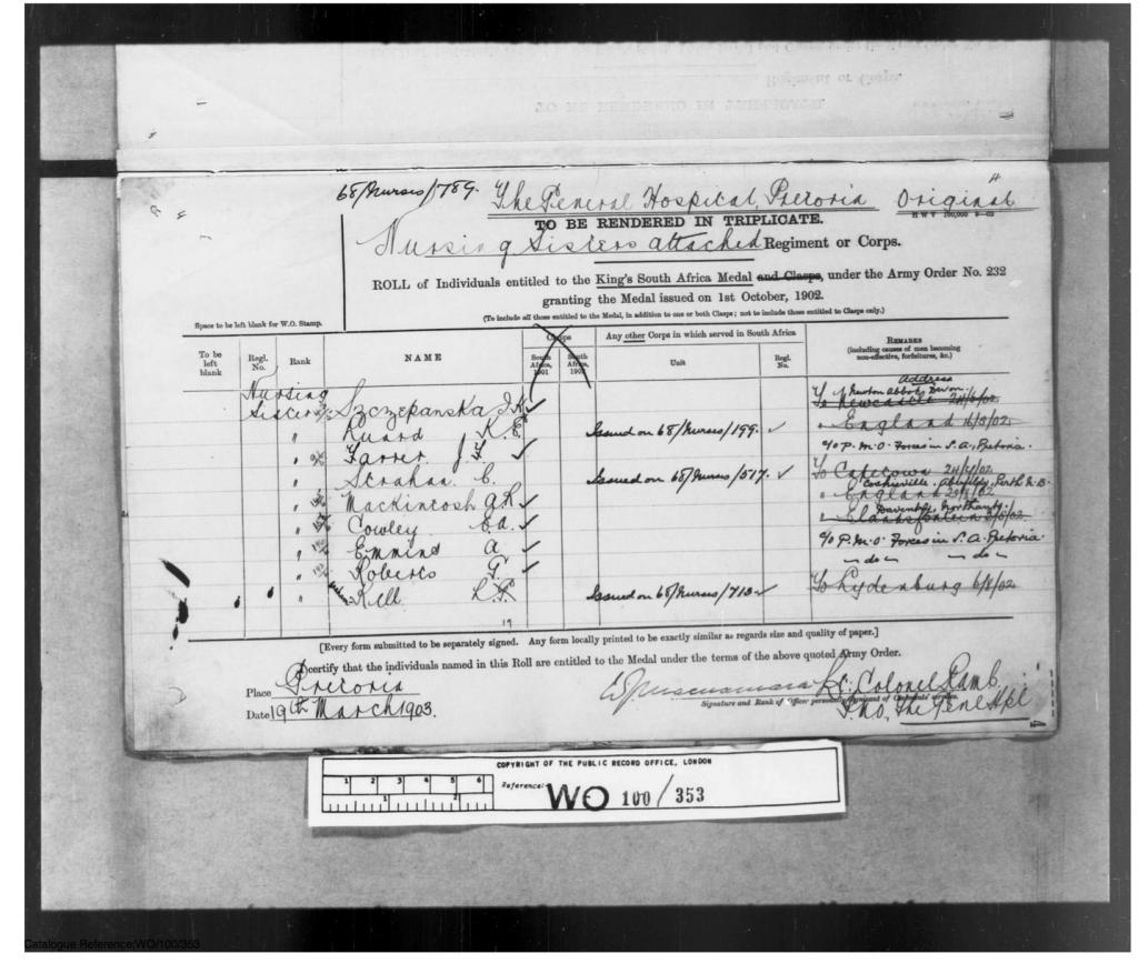 Boer War Medal Roll